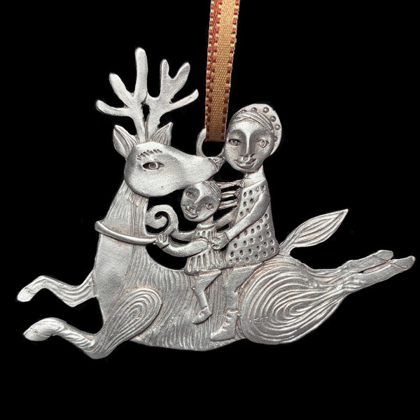 "NEW Leandra Drumm ""Reindeer Ride"" Pewter Ornament"