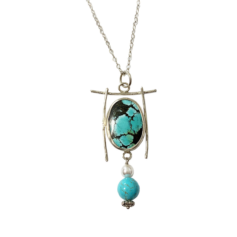 "Shirley Price Fine Silver ""Uninhibited"" Pendant with Turquoise & Pearl"