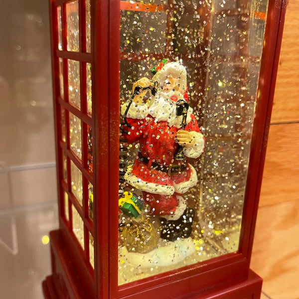 Snow Globe Lantern with Santa in a Red Phone Booth