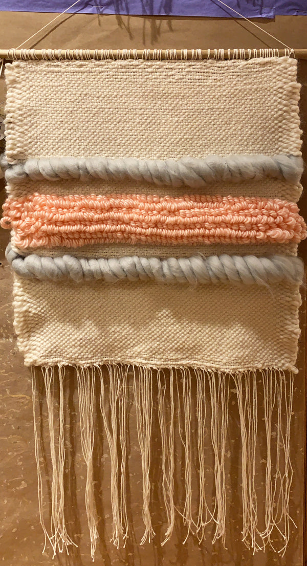 Kathryn Shinko Weaving #2 - Cream, Gray, Pink
