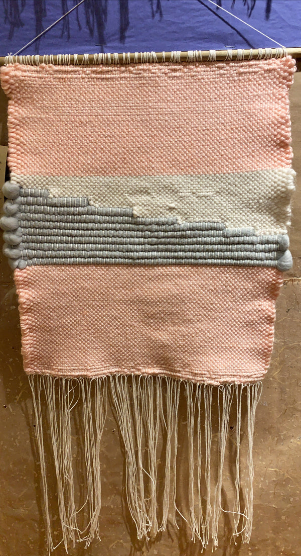 Kathryn Shinko Weaving #3 - Pink, Cream, Gray