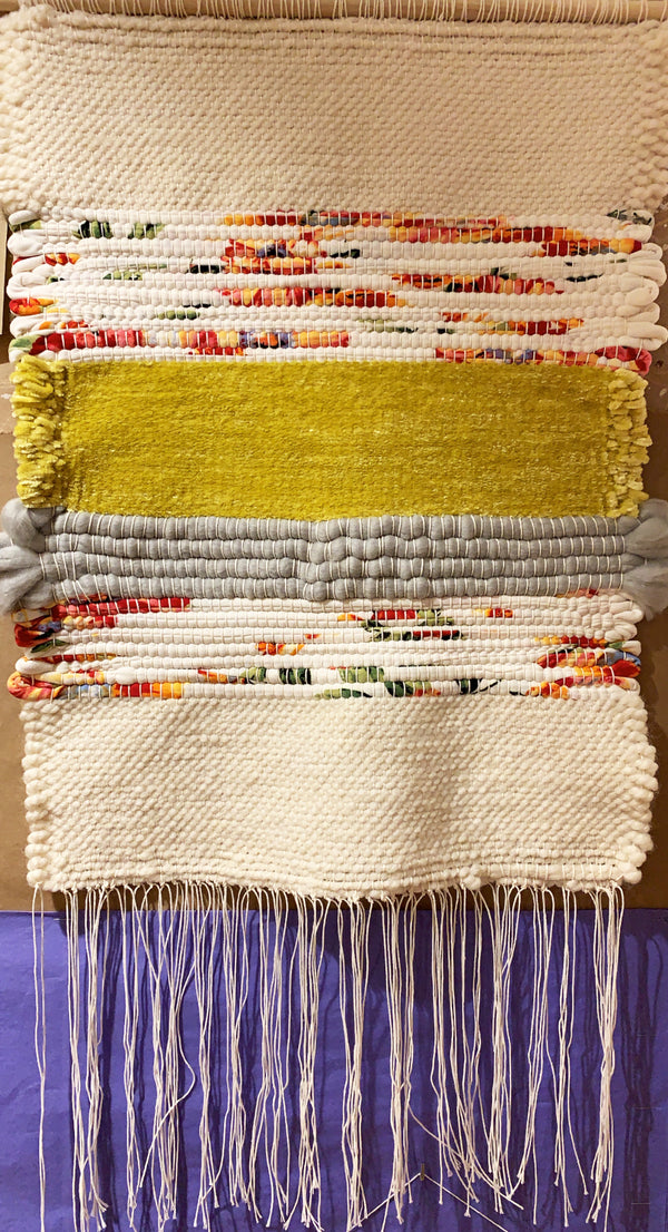 Kathryn Shinko Weaving #5 - Recycled, Cream, Gray, Yellow