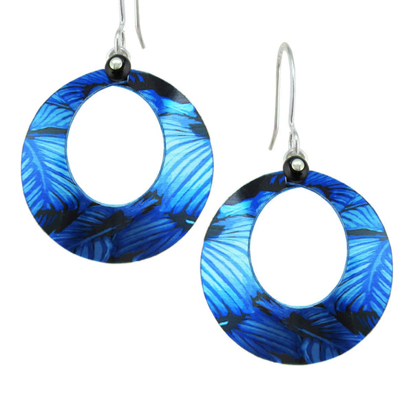 "Leni Singerman ""Resource"" Blue Forest Hoop Earrings"
