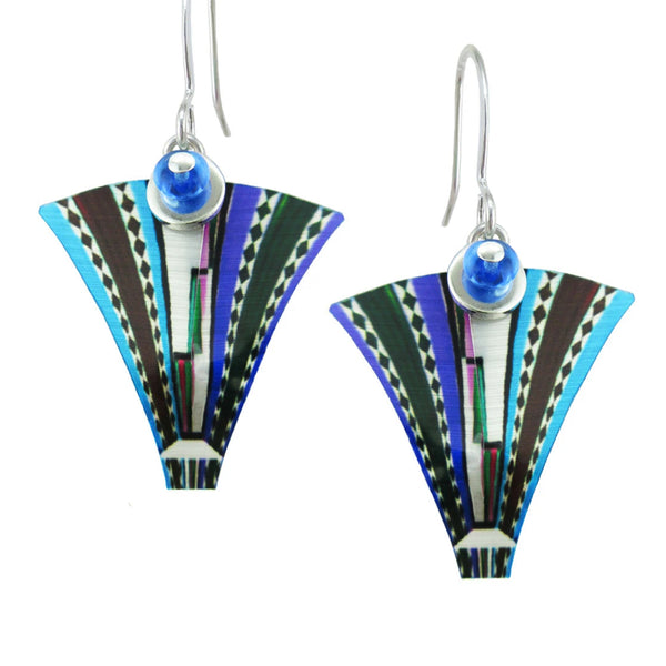 "Leni Singerman ""Eternal"" Blue Fan Earrings"