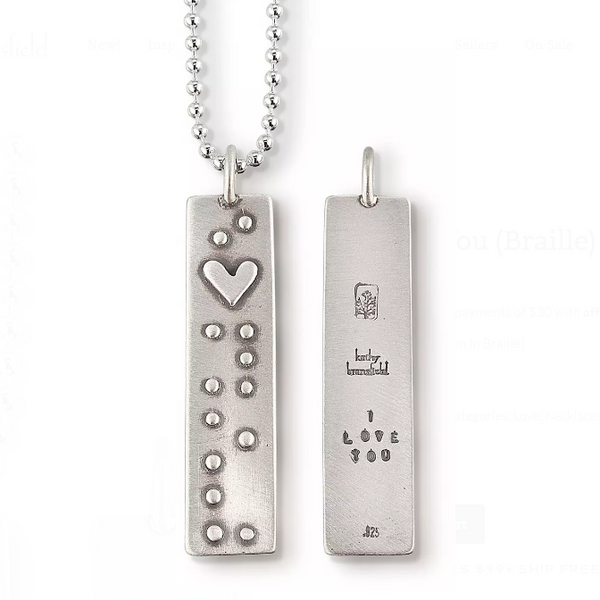 "Kathy Bransfield ""I Love You"" Braille Necklace"