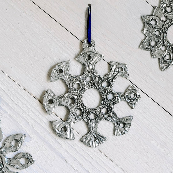 "Pewter Snowflake Ornament ""E"""