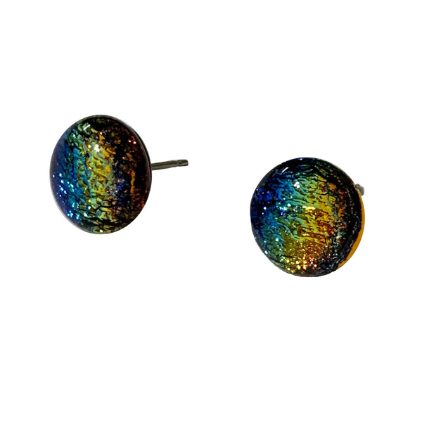 Touch of Glass Dichroic Glass Accent Dot Earrings, Rainbow