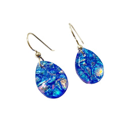 Touch of Glass Dichroic Glass Teardrop Earrings, Turquoise