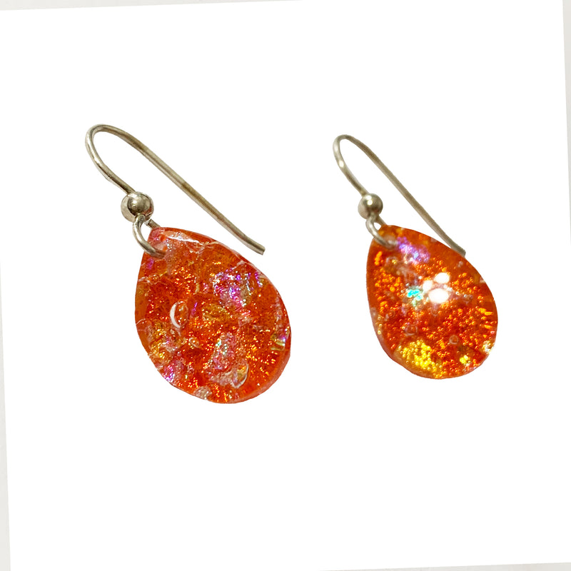 Touch of Glass Dichroic Glass Teardrop Earrings, Tangerine
