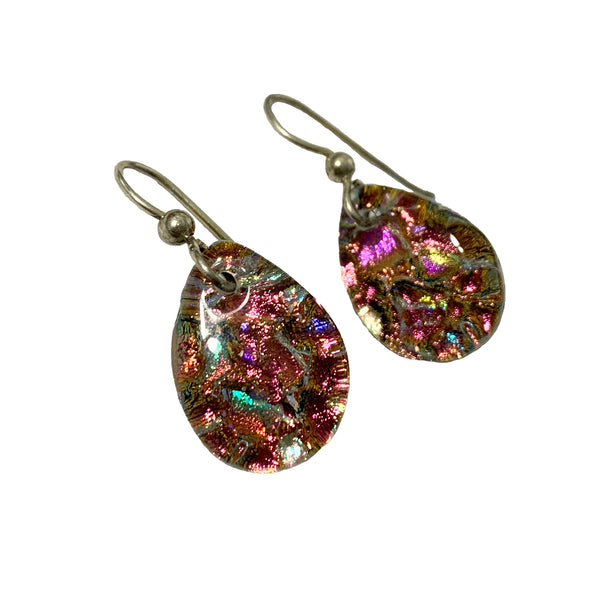 Touch of Glass Dichroic Glass Teardrop Earrings, Fuschia