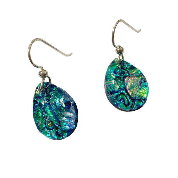 Touch of Glass Dichroic Glass Teardrop Earrings, Green