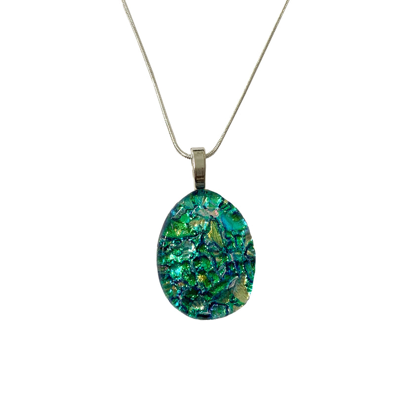 Touch of Glass Dichroic Glass Large Teardrop Pendant, Green