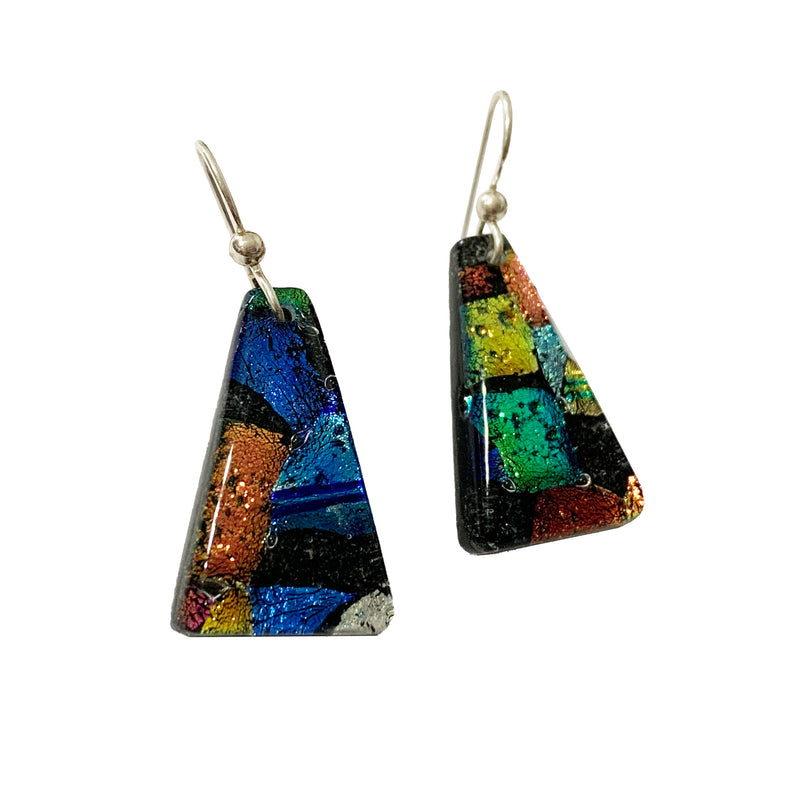 Touch of Glass Dichroic Glass Trapezoid Earrings, Black Multicolor