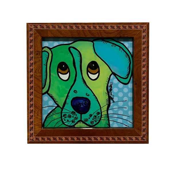 Lori Pastor Green Dog on Blue Polka Dots