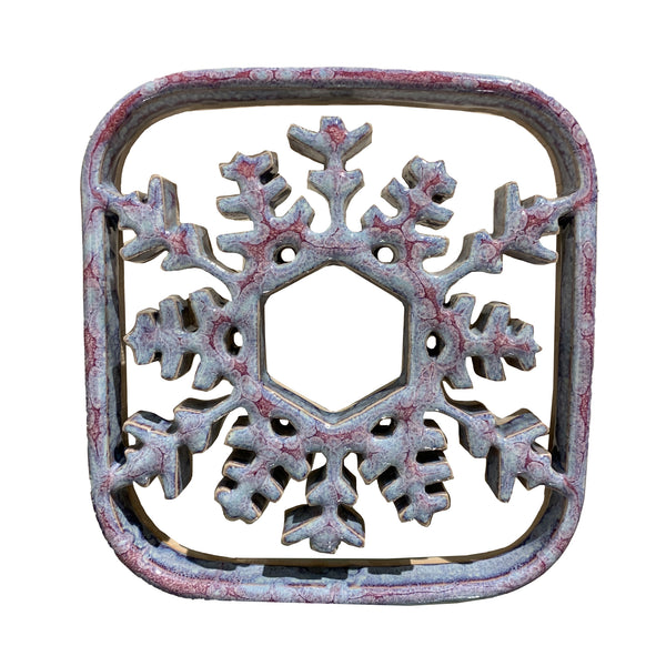 Bay Pottery Snowflake Trivet, Sunrise Color