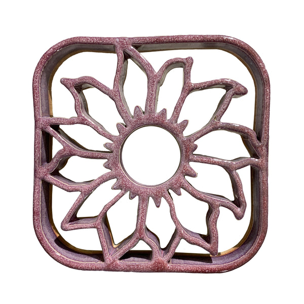 Bay Pottery Sunflower Trivet, Rose Color