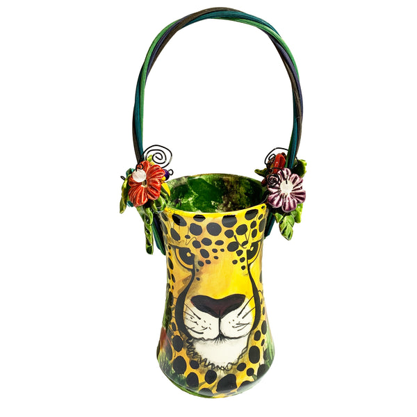 Haidi J. Haiss Fluted Vase Basket with 3 Animals