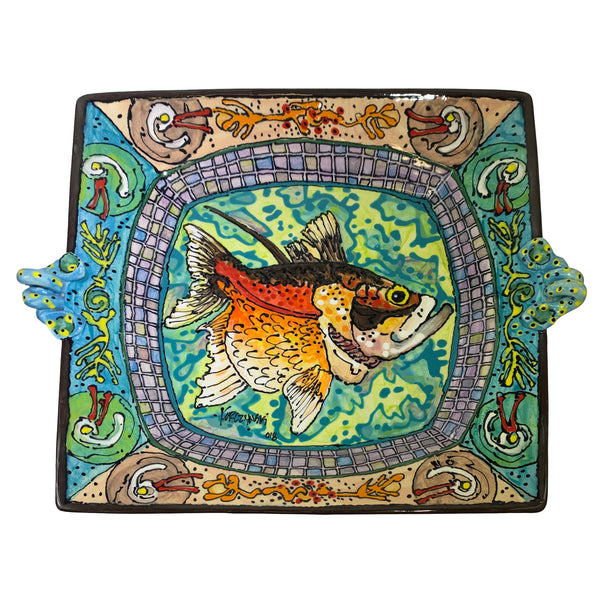 Ron Korczynski Low Fire Large Square Fish Plate