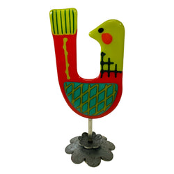 Agape Fused Glass Holiday Partridge Sculpture
