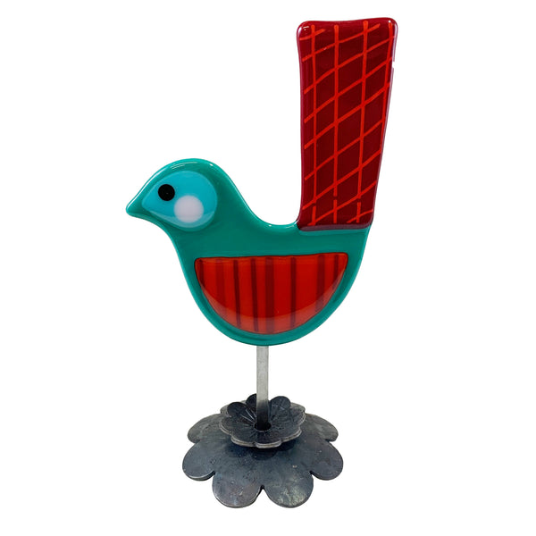 Agape Fused Glass Holiday Bird Sculpture