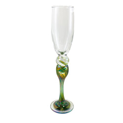Rosetree Glass Studio Green/Gold Champagne Glass