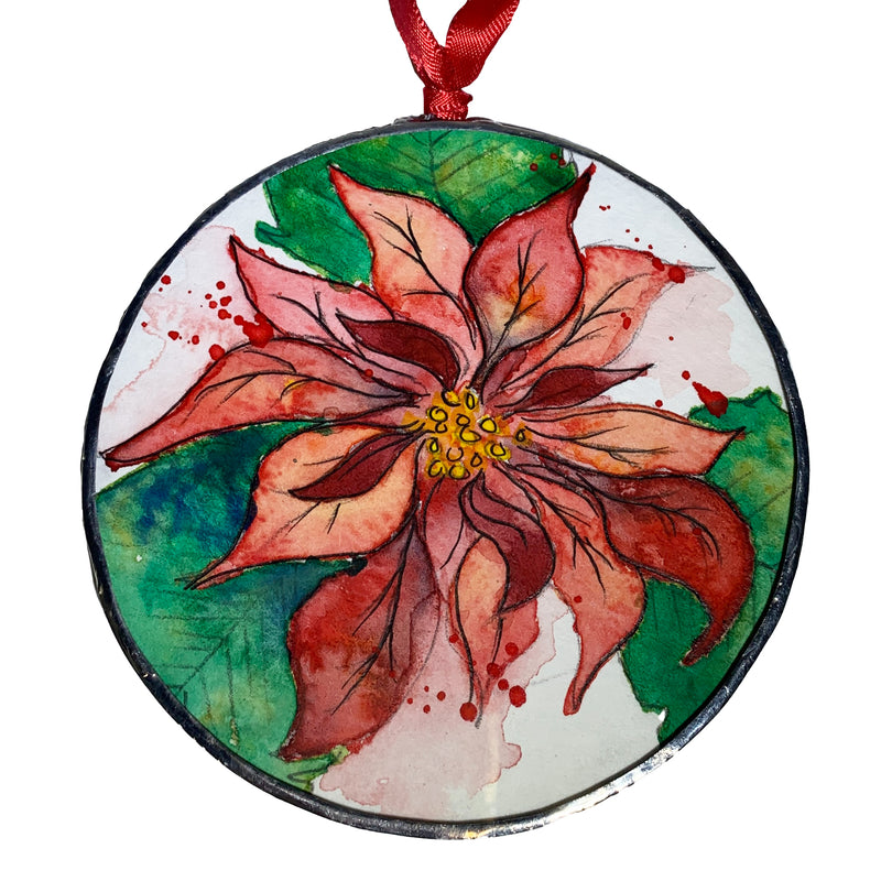Jessica Olin Watercolor Under Glass Poinsettia Ornament