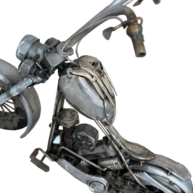 Repurposed Metal Motorcycle Sculpture