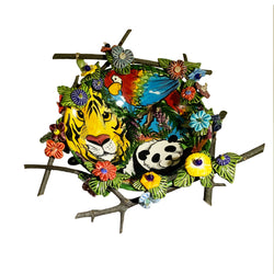 Haidi J. Haiss Twigs Bowl with Tiger, Panda & Parrot