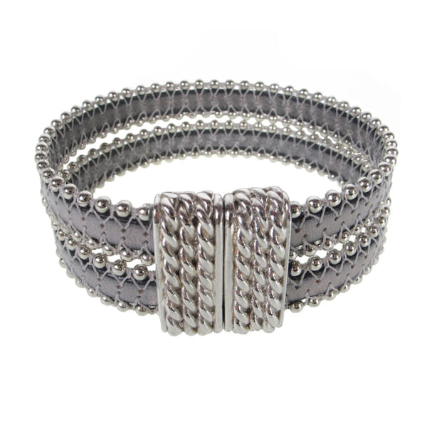 Erica Zap Double Beaded Grey Leather Bracelet