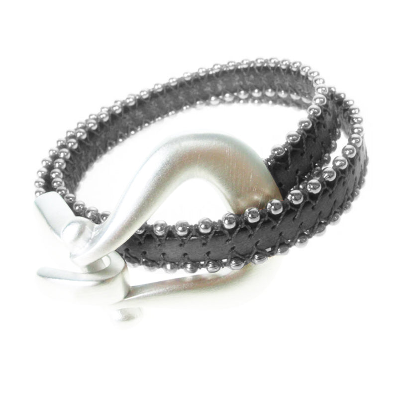 Erica Zap Double Beaded Black Leather Bracelet