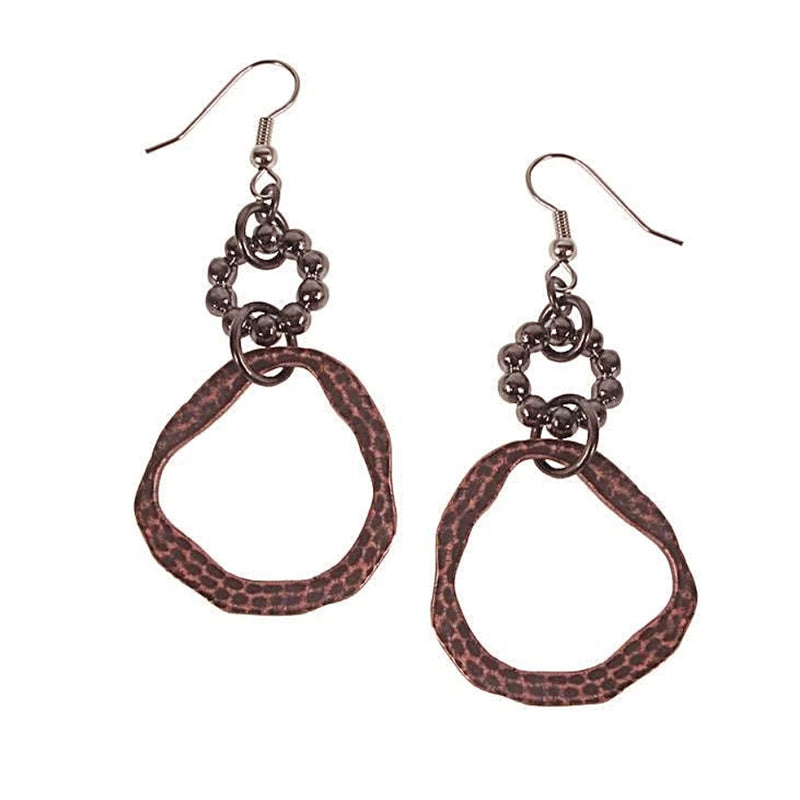 Erica Zap Beaded & Hammered Circle Drop Earrings
