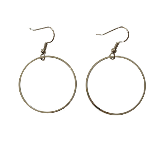 Erica Zap Large Silvery Circle Hoops Earrings