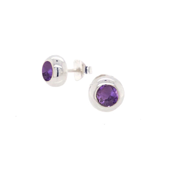 Zina Sterling Bezel Amethyst Stud Earrings