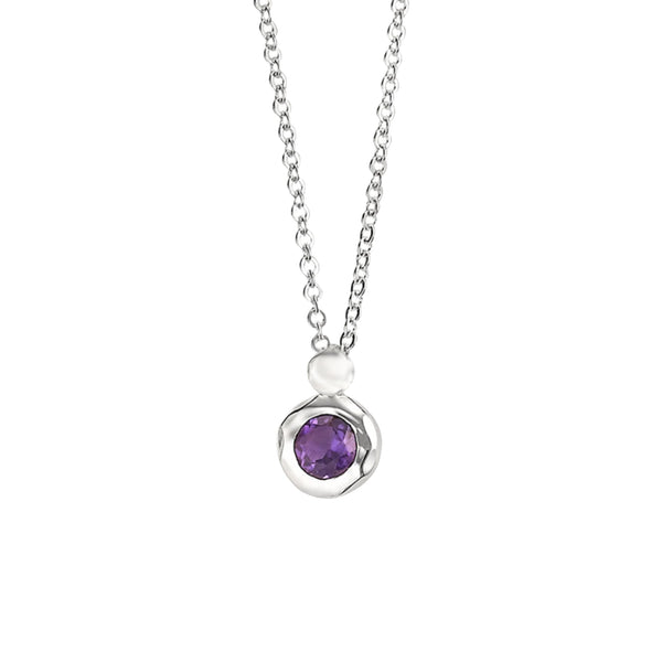 Zina Sterling Bezel Amethyst Drop Necklace