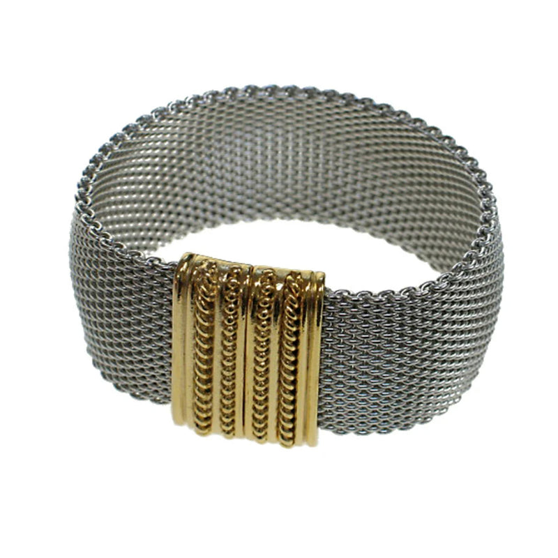 Erica Zap Domed Mesh Bracelet with Textured Metal Clasp