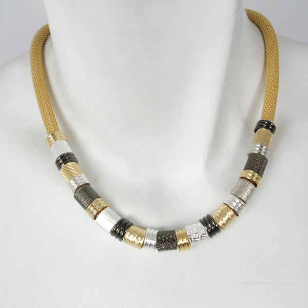 Erica Zap Mesh Necklace with Textured Tubes