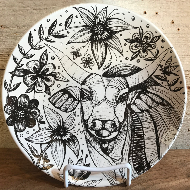 "NEW Leandra Drumm Ceramic Plate ""Stop and Smell The Flowers"""