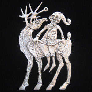 Don Drumm Santa on Deer Ornament