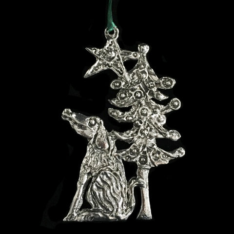 Dog with Tree under a Star Ornament