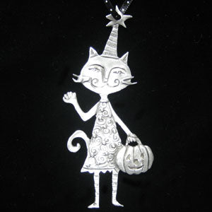 Leandra Drumm Cat with Pumpkin Ornament