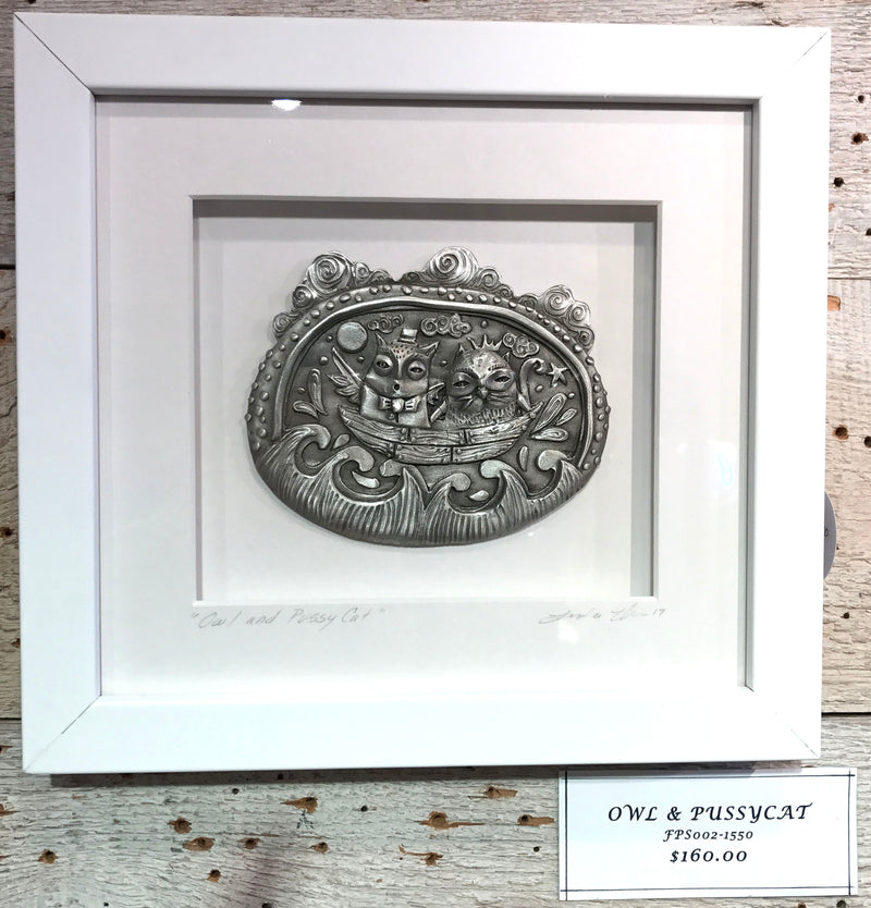 "NEW Leandra Drumm Framed Pewter ""Owl and Pussy Cat"""