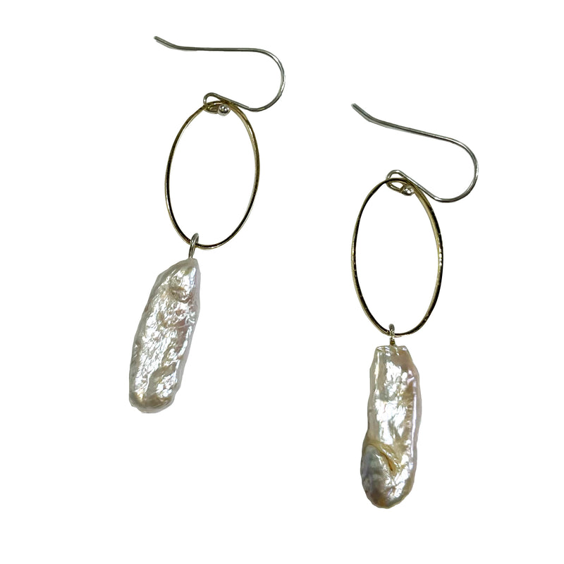 Studio Enso Jewelry Oval with Oblong Pearl Earrings