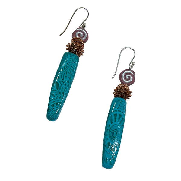 Studio Enso Jewelry Long Bead with Small Swirl Earrings