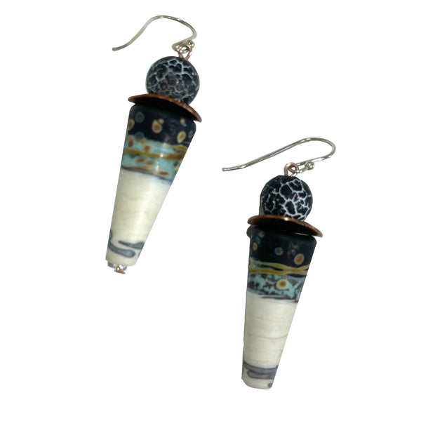 Studio Enso Jewelry Conical Bead with Crackle Top Earrings