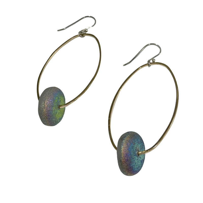 Studio Enso Jewelry Large Oval with Glass Disc Earrings