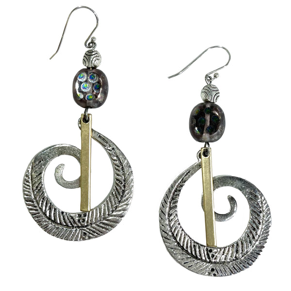 Studio Enso Jewelry Large Silvery Swirl with Flat Bead Earrings