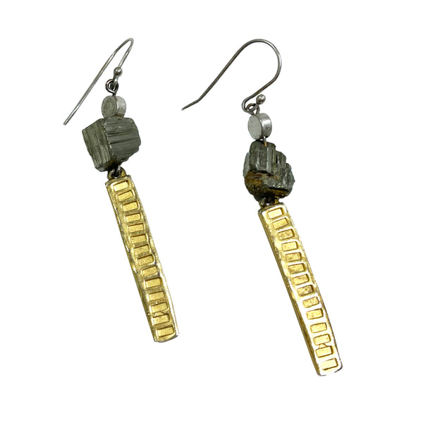 Studio Enso Jewelry Pyrite Chunks with Long Textured Brass Earrings