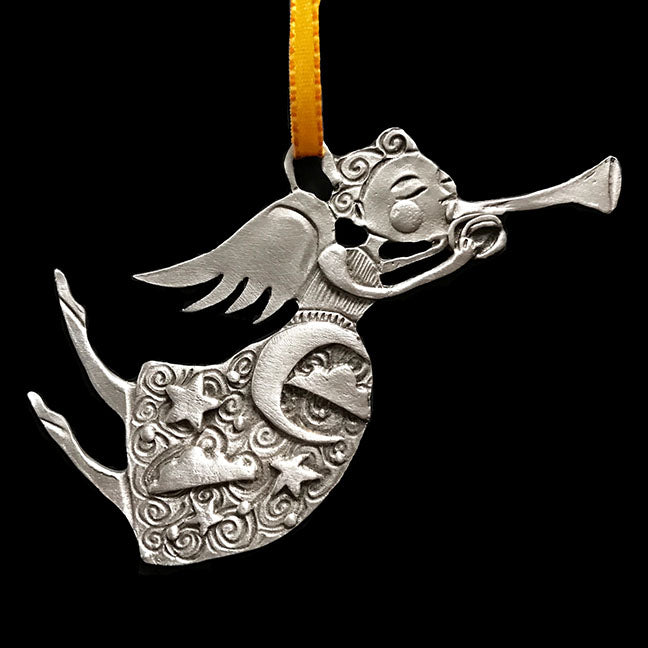 "NEW Leandra Drumm ""Flying Angel with Trumpet"" Ornament"