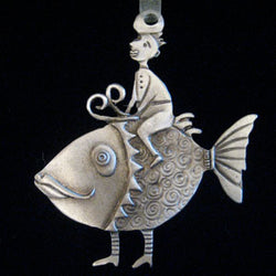 Leandra Drumm Boy on Fish Ornament
