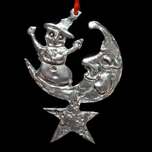 Don Drumm Snowman on the Moon Ornament